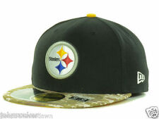 PITTSBURGH STEELERS NFL SALUTE TO SERVICE NEW ERA 5950 CAMO FITTED HAT/CAP NWT