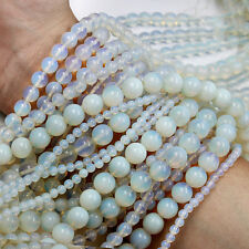 White Opal Opalite Round Gemstone Loose Round Spacer Beads DIY 4/6/8/10/12mm
