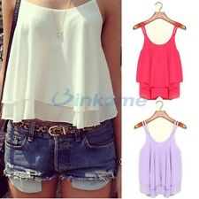 Chiffon Sexy Women Casual Sleeveless Shirt Loose Vest Tank Top Blouse