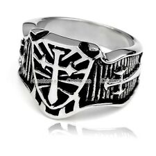 Mens Punk Biker 316L Stainless Steel Shield Cross Finger Ring Military Gifts