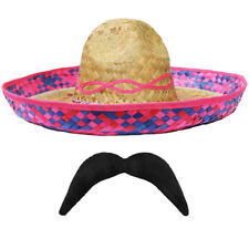 PINK STRAW SOMBRERO HAT + MOUSTACHE MEXICAN  HOLIDAY HEN STAG BANDIT FANCY DRESS