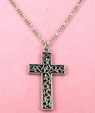 Pewter Filigree Cross Charm on a Silver Tone Figaro Chain Necklace - 0409