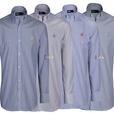 Mens Polo Player Embroidered Long Sleeve Stripe/Check Shirt Sizes M to 2XL Pony