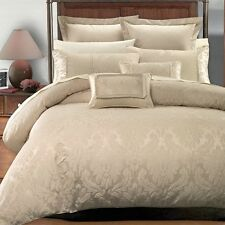 7PC- Sara Jacquard Duvet Cover Set -100% Luxury Beige By Royal Hotel Collection