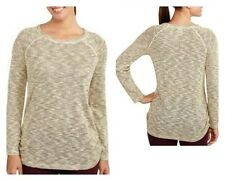 Faded Glory Womens Marled Gold Metallic Scoopneck Sweater Light Weight Top