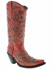 Womens Red Python Snake Flower Western Tall Leather Cowboy Boots Rodeo Cowgirl