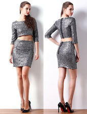 Women Party Casual Dresses Ladies Two Piece Sequin Tops Skirt Slim Bodycon Dress