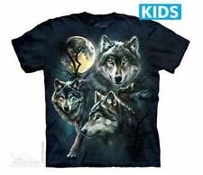 The Mountain Moon Wolves Collage Wolf Nature Forest Youth Kids Tee T Shirt S-Xl