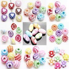 New Colorful Acrylic Loose Spacer Bead Bracelet Jewelry Finding DIY 9 Style