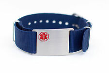 Unisex Medical Nylon/Stainless Bracelet-Diabetes, Coumadin, or Blank - 4 Colors!