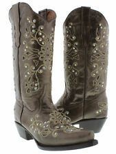 Womens Brown Python Inlay Rhinestone Western Leather Cowboy Boots Rodeo Cowgirl