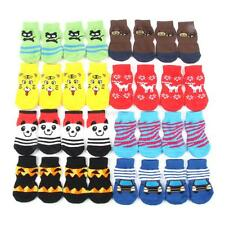 4x Pet Dog Puppy Indoor Soft Cotton Anti-slip Knit Weave Warm Socks Skid Bottom