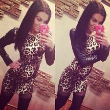 Leopard Lady Sexy Bodycon PU Leather Long Sleeve Clubwear Evening Cocktail Dress