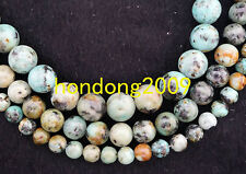 "6/8/10mm Natural African Turquoise Round Gems Loose Beads 15"" Choose Size"