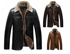 Mens Winter Warm Fur Lapel Collar Jacket Coat Leather Outwear Parka Slim New