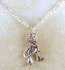 Pewter Hula Hoop Girl Pendant on a Silver Plated Figaro Chain Necklace - 5458