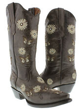 Womens Brown 2 Butterfly Flowers Leather Western Cowboy Boots Rodeo Cowgirl