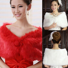 Women's Faux Fur Ivory Plush Bridal Wedding Jacket Wrap Shrug Bolero Shawl Cape