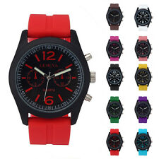 Geneva Women Unisex Silicone Analog Quartz Jelly Leather Strap Sport Wrist Watch