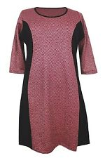 """New Plus Size Ex """" Evans """"  Knitted Red Black Zig-Zag Print Dress"""