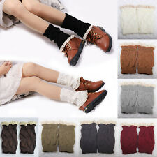 Women's Fashion Crochet Knitted Lace Trim Boot Cuffs Toppers Leg Warmers Sock