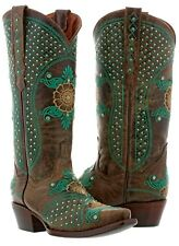 Womens Brown Turquoise Leather Western Cowboy Wedding Boots Studs Rodeo Ivory