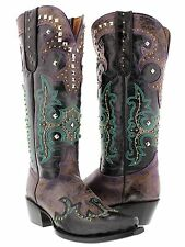 womens purple turquoise tall studded western leather cowboy cowgirl boots rodeo