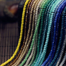 Wholesale Rondelle Faceted Smooth Crystal Glass Glossy Loose Spacer Beads 4-10mm