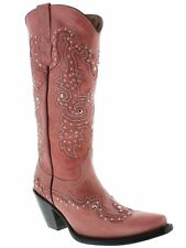 Womens Pink Tall Studded Leather Western Cowboy Cowgirl Boots Rodeo Riding