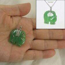 Solid Silver 925; Hand Carved 25mm Red Eye Elephant Design Green Jade Pendant