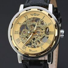 Mens Mechanical Skeleton Watch Hand Wind Up Blue/Golden Dial Leather Strap+Box