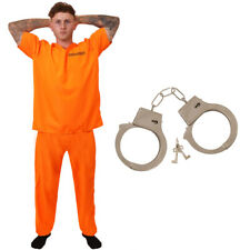 UNISEX CONVICT HANDCUFFS MENS WOMENS ORANGE PRISONER FANCY DRESS STAG COSTUME