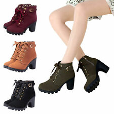 Sexy Women Lace Up Mid Chunky Block Heel Ankle Boots Platform Buckle Suede Shoes