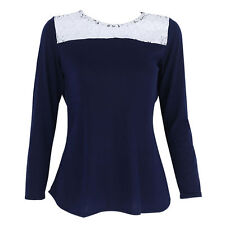 Fashion Womens Casual Lace Long Sleeve Loose T Shirt Sexy Backless Tops Blouse
