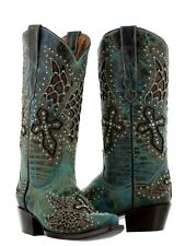 Womens Turquoise Wings Rhinestones Western Cowboy Cowgirl Leather Boots Rodeo