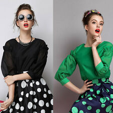 New Womens Ladies Solid Black/Green Puff 3/4 Sleeve Pullover Blouse Tops Shirt