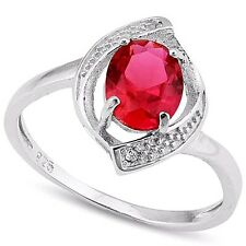 Natural Ruby Oval cut & two Diamond 0.925 Sterling Silver Ring size 7