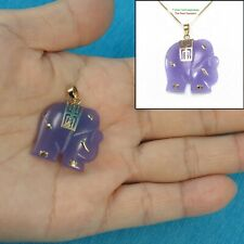 14k Solid Yellow Gold; Hand Carved Popular Elephant Design Lavender Jade Pendant