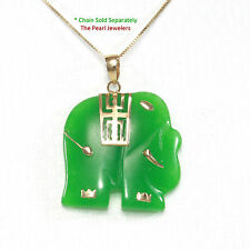 14k Solid Yellow Gold; Hand Carved Elephant Design 25mm Green Jade Pendant 1.25""