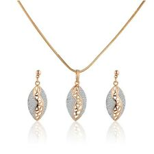 Women Pendant Necklace Dangle Earring Gift Jewelry Set 18k Gold Platinum Filled