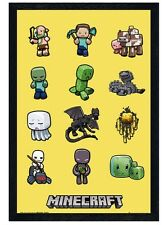 New Black Wooden Framed Minecraft Characters Poster