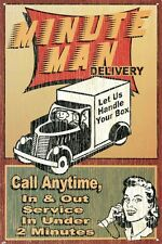 New Let Us Handle Your Box Minute Man Delivery Metal Tin Sign