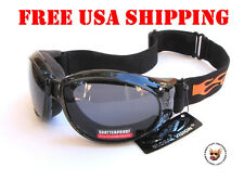 GLOBAL VISION ELIMINATOR GOGGLES WITH FLAMES AND FREE POUCH  MOTORCYCLE GOGGLES