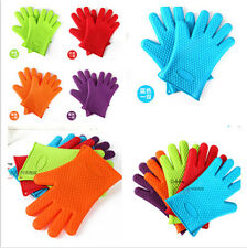EC Pair Silicone Heat Resistant Gloves Oven Mitts  Pot Holder BBQ Cooking 230℃