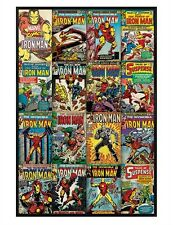 Iron Man Gloss Black Framed Covers Montage Maxi Poster 61x91.5cm