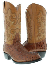 Men's cognac round crocodile alligator head western cowboy exotic leather boots