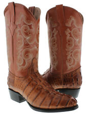 Mens Cognac Alligator Crocodile Tail Western Leather Cowboy Boots Round