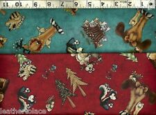 Henry Glass & Co ~ Moose Bear Skunk Beaver Mice ~ 100% Cotton Quilt Fabric BTY