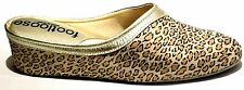 Footloose by Relax Spanish Leather Gold leopard Cushioned Sole Leather Slippers