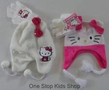 HELLO KITTY Cat Girls Costume Winter Set HAT & GLOVES Cap Mittens Beanie